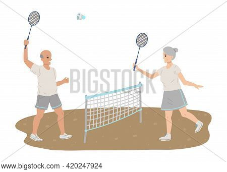 Pensioners Play Tennis, Sports Equipment Rackets In Their Hands, Playing Sports, Healthy Lifestyle I