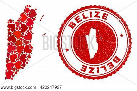 Collage Belize Map Composed With Red Love Hearts, And Corroded Seal Stamp. Vector Lovely Round Red R