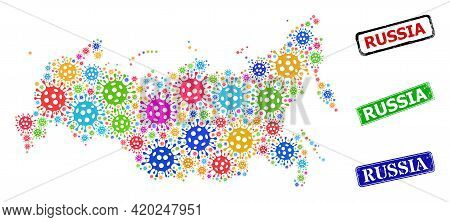 Vector Infection Mosaic Russia Map, And Grunge Russia Seals. Vector Colored Russia Map Mosaic, And R