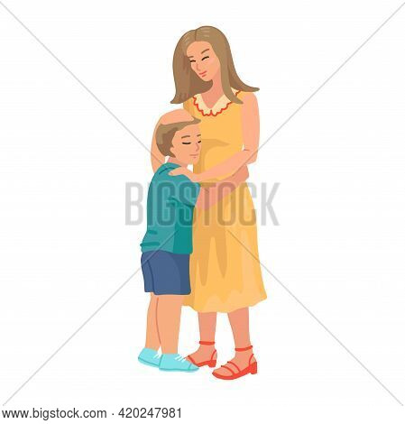 Mother Hugs Son, Vector Cartoon Illustration Of Mother Gently Hug Her Son. Motherhood, Parenthood, A