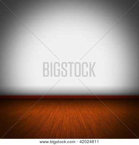 Illustration Of Wooden Floor With White Wellpaper
