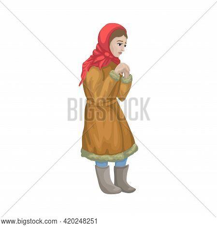 Unhappy Sad Frozen Girl, Beggar, Poor, Hungry Orphan. Cartoon Fairy Tail Character. Vector Isolated