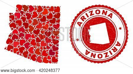 Collage Arizona State Map Formed With Red Love Hearts, And Dirty Stamp. Vector Lovely Round Red Rubb