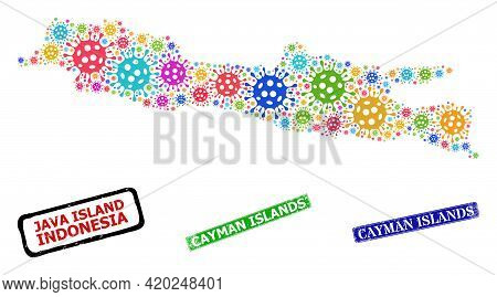 Vector Infection Collage Java Island Map, And Grunge Cayman Islands Stamps. Vector Multi-colored Jav
