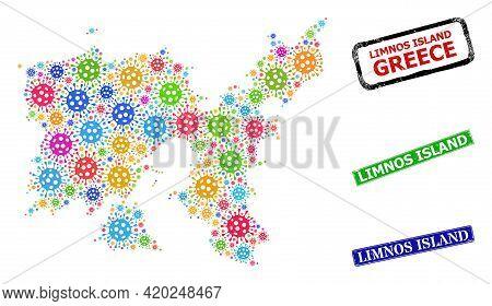 Vector Viral Mosaic Limnos Island Map, And Grunge Limnos Island Seals. Vector Multi-colored Limnos I