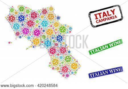 Vector Covid-2019 Collage Campania Region Map, And Grunge Italian Wine Seals. Vector Colorful Campan