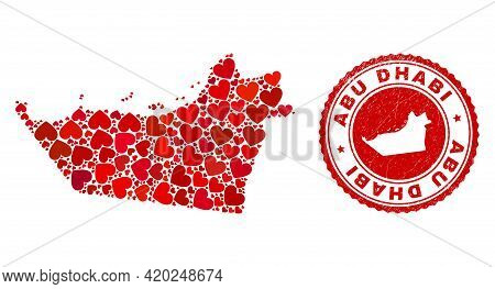 Collage Abu Dhabi Emirate Map Composed With Red Love Hearts, And Grunge Seal Stamp. Vector Lovely Ro
