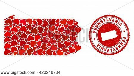 Mosaic Pennsylvania State Map Composed With Red Love Hearts, And Unclean Seal. Vector Lovely Round R