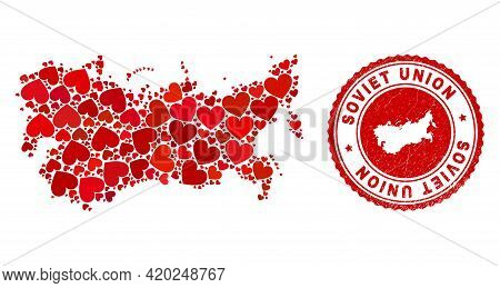 Mosaic Soviet Union Map Created With Red Love Hearts, And Corroded Seal. Vector Lovely Round Red Rub