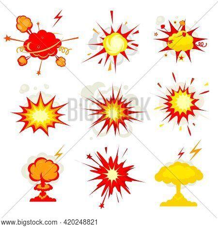 Comic Book Explosion, Blast Or Bomb Bang Fire Vector Eps10 Illustration