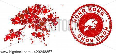Collage Hong Kong Map Created With Red Love Hearts, And Corroded Stamp. Vector Lovely Round Red Rubb
