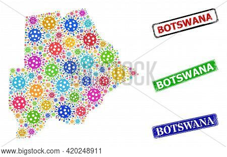 Vector Cell Collage Botswana Map, And Grunge Botswana Seals. Vector Colored Botswana Map Collage, An