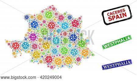 Vector Cell Mosaic Caceres Province Map, And Grunge Westphalia Seal Stamps. Vector Colored Caceres P