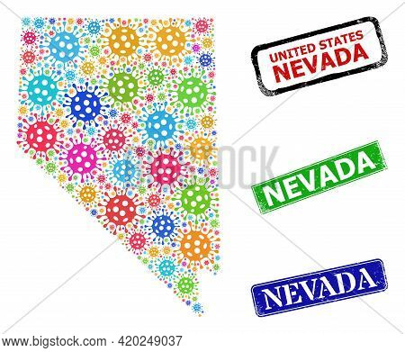 Vector Cell Mosaic Nevada State Map, And Grunge Nevada Stamps. Vector Vibrant Nevada State Map Mosai
