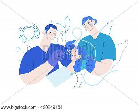 Routine Dental Checkups - Medical Insurance Illustration. Modern Flat Vector