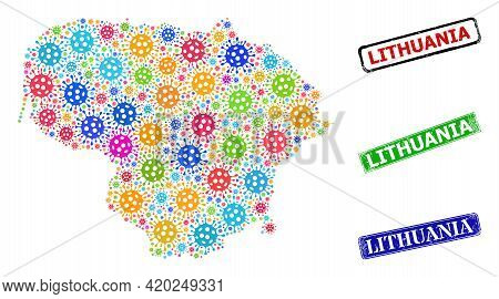 Vector Virus Mosaic Lithuania Map, And Grunge Lithuania Badges. Vector Colorful Lithuania Map Collag