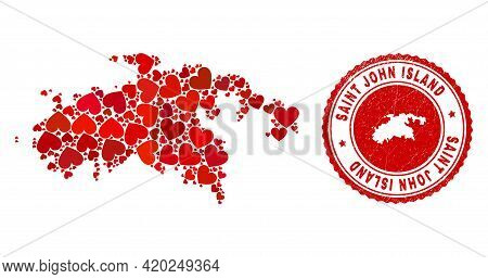 Collage Saint John Island Map Formed With Red Love Hearts, And Corroded Seal Stamp. Vector Lovely Ro