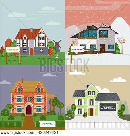 Colorful Villas And Cottages Flat Set For Rent With Different Architecture And Exterior Vector Illus
