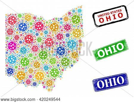 Vector Virulent Mosaic Ohio State Map, And Grunge Ohio Seals. Vector Colored Ohio State Map Mosaic,