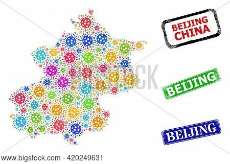 Vector Covid-2019 Collage Beijing City Map, And Grunge Beijing Stamps. Vector Colorful Beijing City