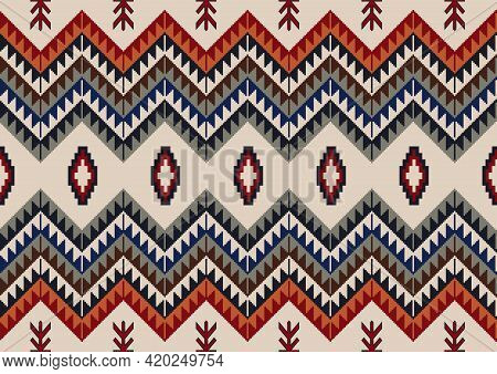 Navajo Tribal Vector Seamless Pattern. Native Indian Ornament. Ethnic South Western Decor Style. Mex