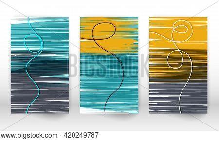 Scandinavian Home Decor. Set Of Abstract Hand Drawn Lines. Modern Art Canvas. Watercolor Effect Desi