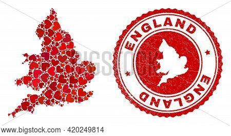 Mosaic England Map Designed With Red Love Hearts, And Textured Stamp. Vector Lovely Round Red Rubber