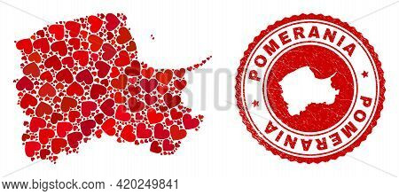 Collage Pomeranian Voivodeship Map Composed With Red Love Hearts, And Textured Stamp. Vector Lovely