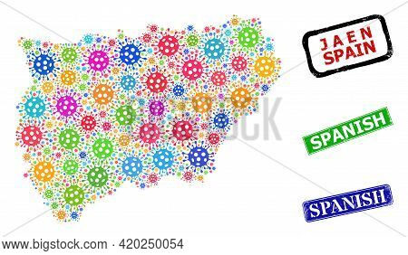 Vector Contagious Collage Jaen Spanish Province Map, And Grunge Spanish Stamps. Vector Colored Jaen