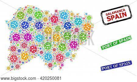 Vector Covid Mosaic Salamanca Province Map, And Grunge Port Of Spain Seals. Vector Colored Salamanca