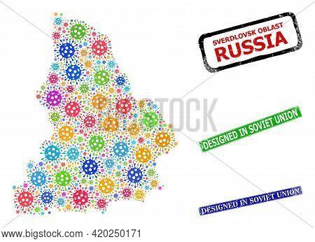 Vector Virus Collage Sverdlovsk Region Map, And Grunge Designed In Soviet Union Seals. Vector Colorf