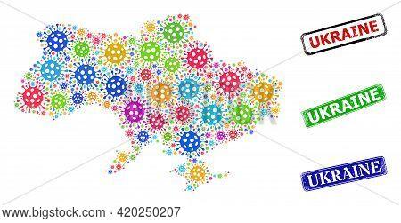 Vector Virus Collage Ukraine Map, And Grunge Ukraine Seal Stamps. Vector Colored Ukraine Map Collage
