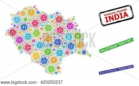 Vector Viral Collage Himachal Pradesh State Map, And Grunge Palestinian Territory Seal Stamps. Vecto