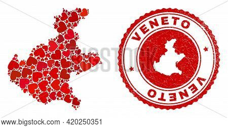Mosaic Veneto Region Map Formed With Red Love Hearts, And Dirty Stamp. Vector Lovely Round Red Rubbe