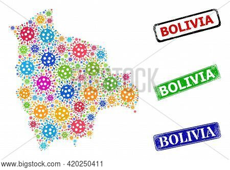 Vector Contagious Collage Bolivia Map, And Grunge Bolivia Seals. Vector Colored Bolivia Map Collage,