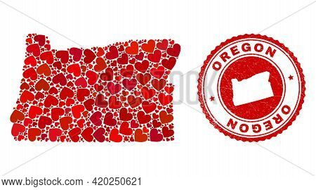 Collage Oregon State Map Formed With Red Love Hearts, And Grunge Seal. Vector Lovely Round Red Rubbe