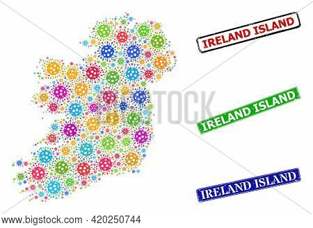 Vector Virulent Mosaic Ireland Island Map, And Grunge Ireland Island Seal Stamps. Vector Colored Ire