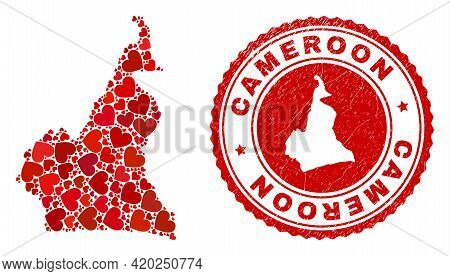 Mosaic Cameroon Map Formed With Red Love Hearts, And Textured Seal Stamp. Vector Lovely Round Red Ru