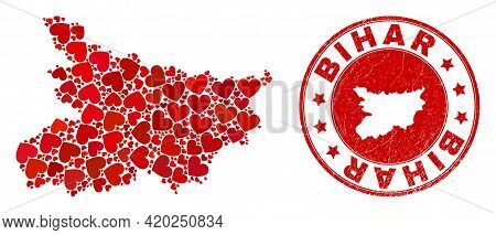 Mosaic Bihar State Map Formed With Red Love Hearts, And Unclean Badge. Vector Lovely Round Red Rubbe