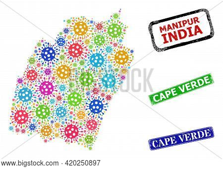 Vector Infection Mosaic Manipur State Map, And Grunge Cape Verde Seal Stamps. Vector Multi-colored M