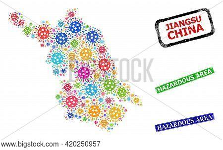 Vector Covid Mosaic Jiangsu Province Map, And Grunge Hazardous Area Stamps. Vector Colorful Jiangsu
