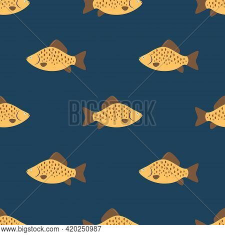 Seamless Fish Pattern Is On A Blue Background. Illustration For A Cover, A Poster Or A Textile Desig