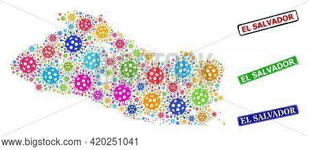 Vector Viral Collage El Salvador Map, And Grunge El Salvador Seals. Vector Colored El Salvador Map M