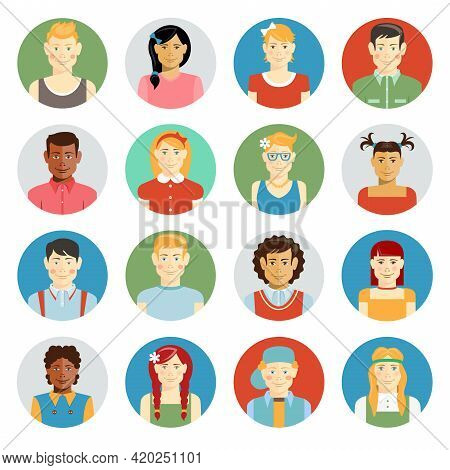 Colorful Smiling Children Vector Avatar Set With Multiracial Children Of Diverse Ethnicity  Boys And