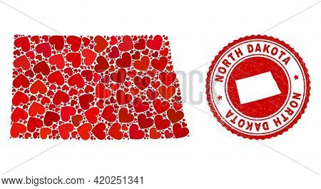 Collage North Dakota State Map Formed With Red Love Hearts, And Rubber Seal Stamp. Vector Lovely Rou