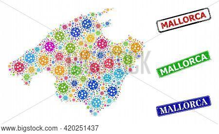 Vector Virulent Mosaic Mallorca Map, And Grunge Mallorca Seals. Vector Multi-colored Mallorca Map Mo
