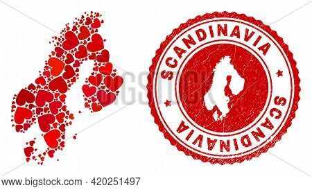 Mosaic Scandinavia Map Created With Red Love Hearts, And Rubber Seal Stamp. Vector Lovely Round Red