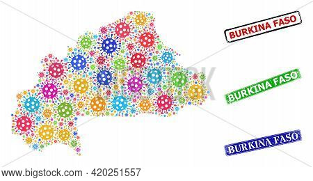 Vector Cell Collage Burkina Faso Map, And Grunge Burkina Faso Seal Stamps. Vector Colorful Burkina F