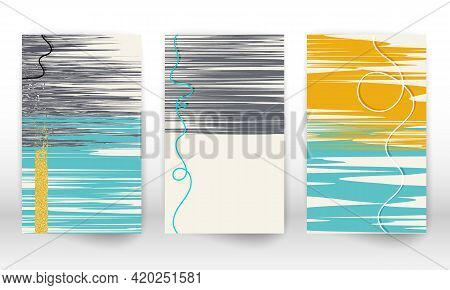 Watercolor Effect Design Cover. Scandinavian Home Decor. Set Of Abstract Hand Drawn Shapes. Doodle L