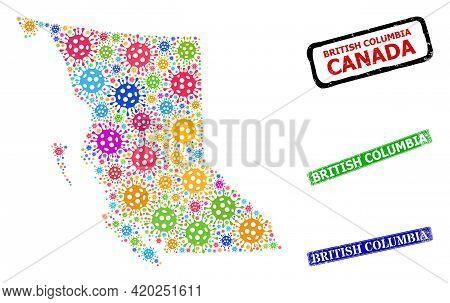 Vector Covid Mosaic British Columbia Map, And Grunge British Columbia Seal Stamps. Vector Colored Br